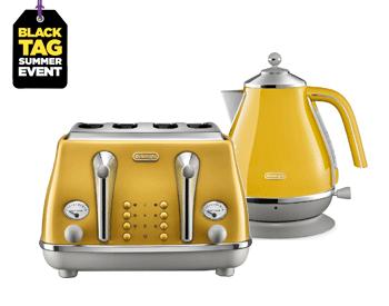 Delonghi Kettle Toaster Set in mustard finish