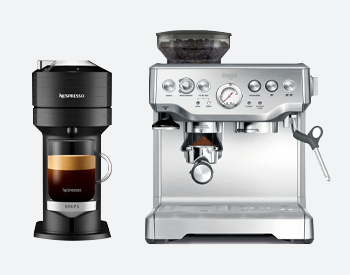 Nespresso Vertuo and Sage Barista coffee machines side by side