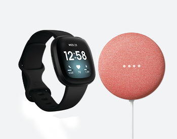 Fitbit Versa 3 and Google Home Nest